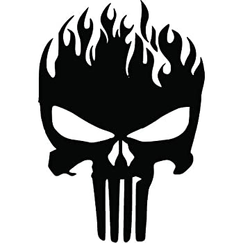 Amazon Com Ni892 Punisher Skull On Fire Decal 7 5