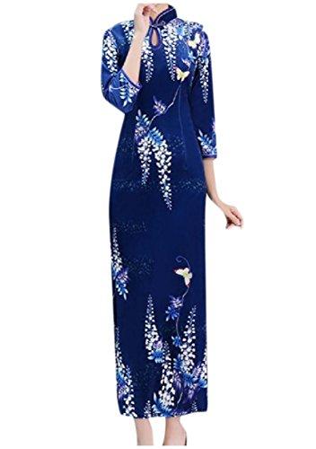 Coolred-femmes Personnalisãƒâ Imprimé Pleuche Robe Moulante À Long Crayon Bleu Saphir