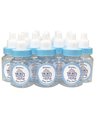 Baby Shower Bottle Favors with Custom Personalized Stickers (Blue Bottle - Elephant, 24 Bottles) ()