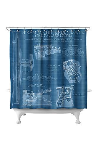 Lantern Press Seattle, Washington - Ballard Locks Technical (Blueprint Version) 26469 (74x74 Polyester Shower Curtain) ()