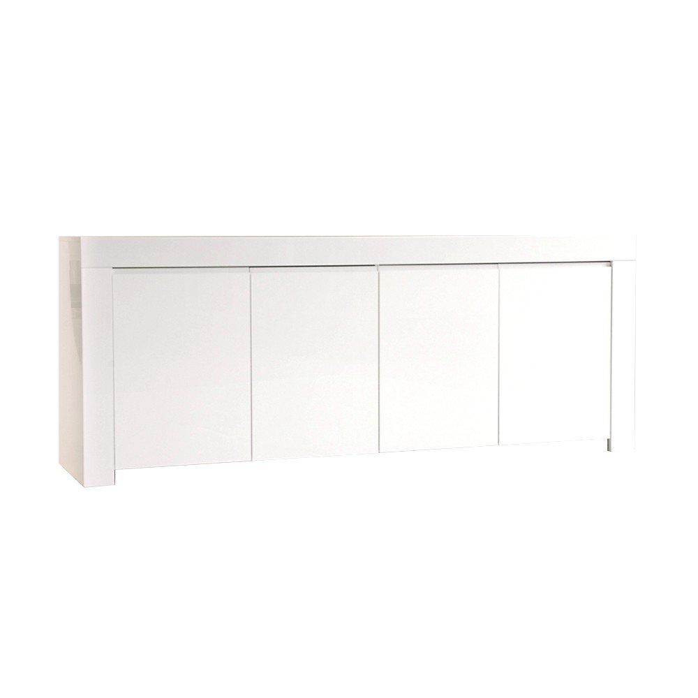 Sideboard mit 4 Türen Hochglanzlack weiß 210x84x50cm - Modell Adi