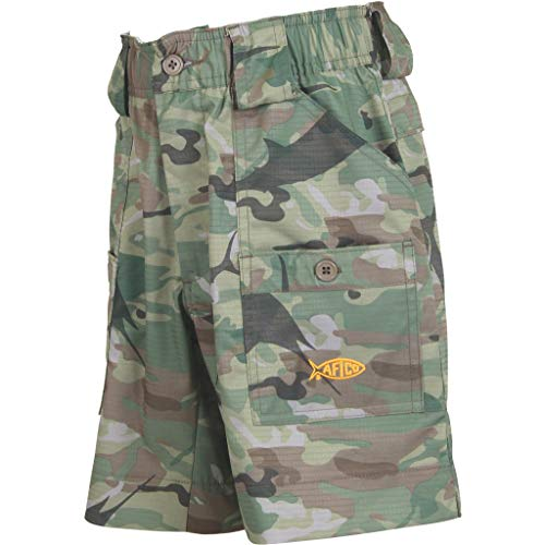 AFTCO Boys Camo Original Fishing Shorts, Green Camo, Size 22