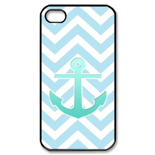 Cooliphone4Cases.com-2838-iPhone 4s Case, Hard Back Cover for iPhone 4s with Teal Blue Chevron Anchor Phone case Design-B01KX0IBDO-T Shirt Design