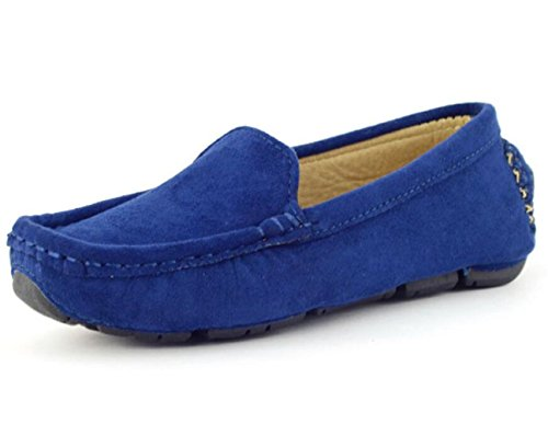 Image of DADAWEN Girl's Boy's Suede Slip-on Loafers Oxford Shoes Blue US Size 2 M Little Kid