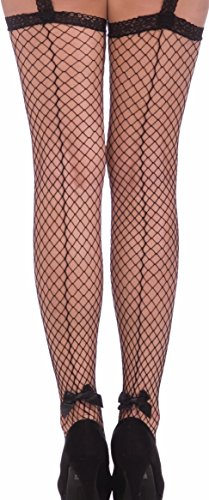 Forum Novelties Women's Burlesque Fishnet Stockings with Garter, Black, One -