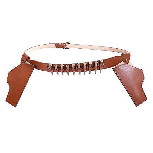 TTXST Belt Carnival Halloween Dress Up Props Cosplay Denim Pistol Revolver Gun Cover Slug Belt,BeltWith2Holsters