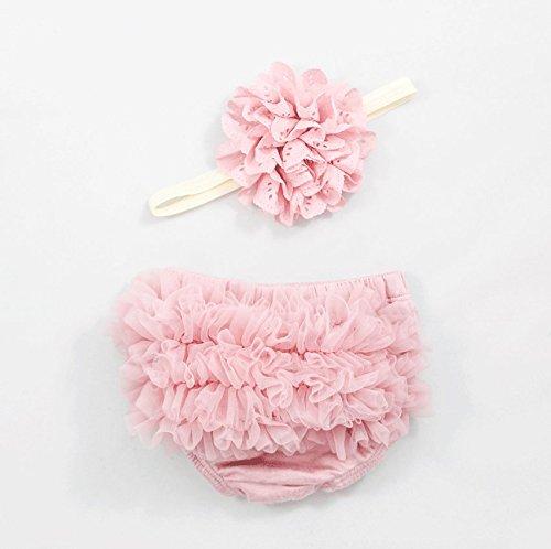 Ruffle Bloomer & Lace Flower Infant Headband Set, Newborn Baby Girl, Mauve Pink