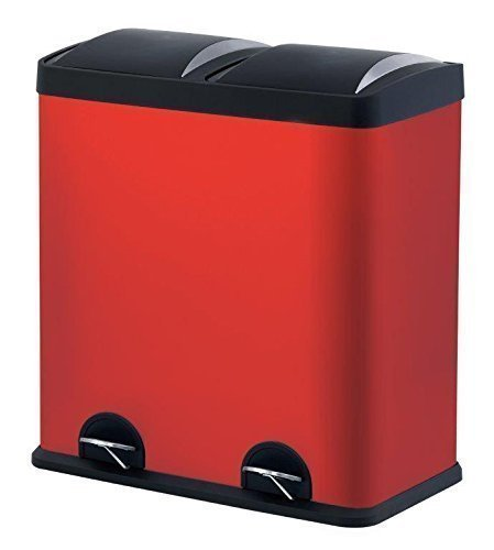 The Step N' Sort 2-Compartment Stainless Steel Trash and Recycling Bin, 16 gal, Red
