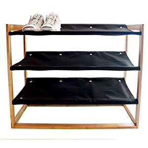 G.U.S. Eco Friendly Bamboo Wood 3-Tier Shoe Rack And Tower, Machine Washable Shelves. Great For High Heels, Shoes, And Boots
