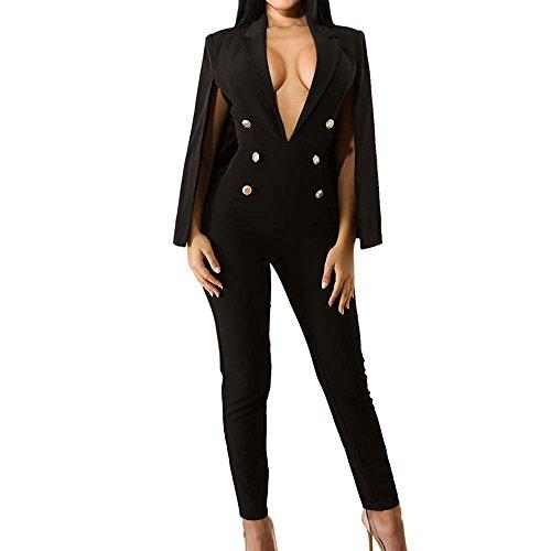 (QuneusHot Women's Plunge Deep V Neck Slim Double Breasted Poncho Coat Tailored Blazer Jumpsuit Pants Suit Plus Size)
