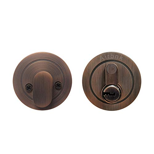 Airbnk D100 Single Cylinder Deadbolt,Antique Copper in Zinc Alloy ()