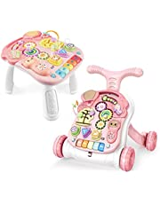 Baby Walker Sit-to-Stand Learning Walker Kids Activity Center Entertainment Table Lights & Sounds & Music & Phone & Steering Wheel Educational Push Toy for Babies Toddlers (Pink)