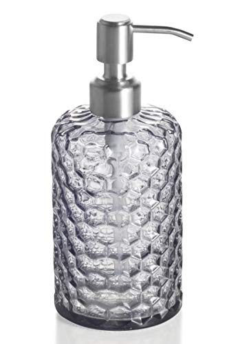 Easy-Tang 16 Oz Grey Glass Soap Dispenser - Refillable Wash Hand Liquid, Dish Detergent, Shampoo Lotion Bottle with Brushed Nickel Pump Holder, Ideal for Bathroom Countertop, Kitchen, Laundry Room]()