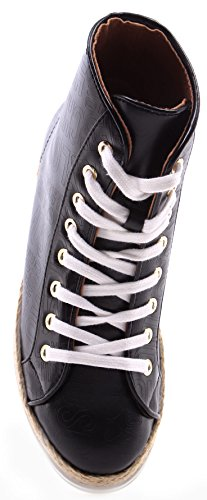 Zapatos Mujer Sneakers LOVE MOSCHINO High Top Roma Nappa PU Black Negro Nueve