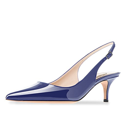 Modemoven Women's Blue Patent Leather Pointed Toe Slingback Ankle Strap Kitten Heels Pumps Evening Stiletto Shoes - 9.5 M US Slingback Pump Shoes