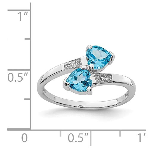 Sterling Silver 1.07ct Rhodium Plated Light Swiss Blue Topaz & Diamond Heart Ring (Color H-I, Clarity SI2-I1) ()