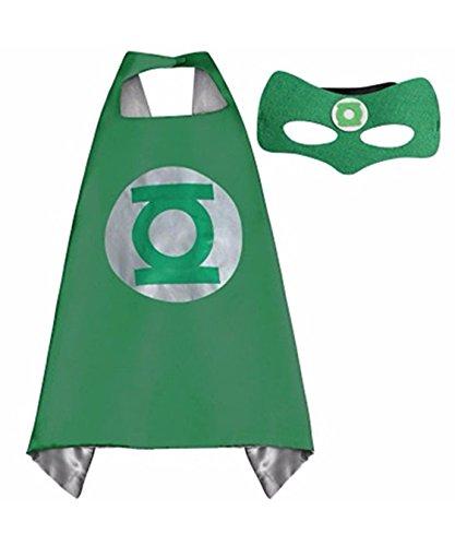 Green Lantern Superhero Satin Cape and Felt Mask Set Double (Green Lantern Costume Womens)