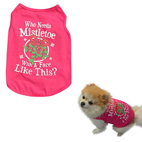 Christmas Puppy Clothes,Neartime Dog Outfits Cotton T Shirt Doggie Shirts for Yorkie (M) (Pumpkin Outfit For Dogs)