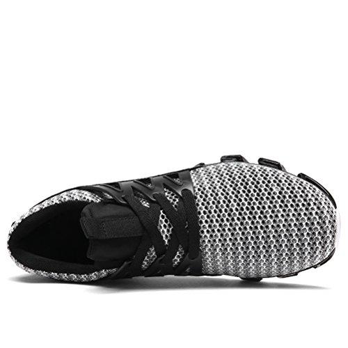 Dannto Heren Sport Loopschoenen Mesh Ademend Lace Up Elastisch Antislip Casual Mode Luchtkussen Sneakers Grijs