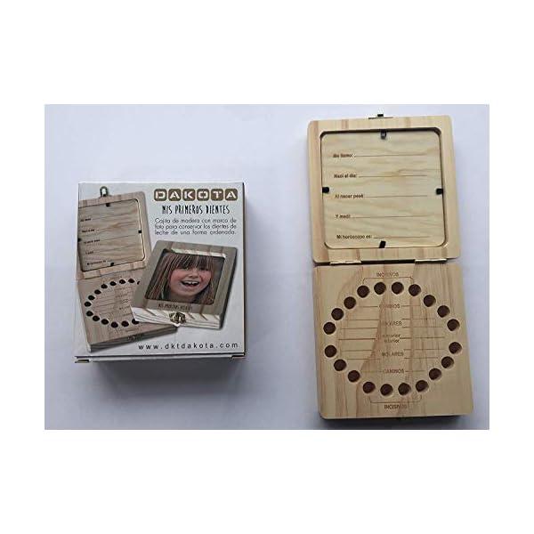 Caja de madera con portafoto para guardar los dientes de leche. Unisex. Para bebés, niños. Dakota. 1 unidad 2