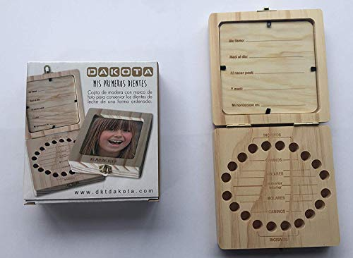 Caja de madera con portafoto para guardar los dientes de leche. Unisex. Para bebés, niños. Dakota. 1 unidad 1