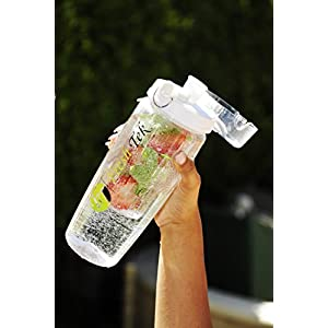 Largest Infuser Sport Water Bottle For Fruity Hydration by FreshTek. Best News - 100% Spill and Leak Proof! Bonus eBook and Cleaning Brush For Easy Cleaning. Multiple Colors - Buy 2 and Save! White.