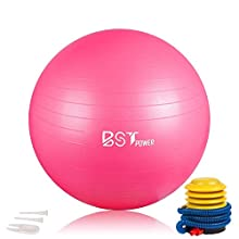 Fourheart Exercise Ball,Anti-Burst Slip-Resistant Extra Thick Balance Stability Yoga Ball(45-85cm),Supports 2000lbs with Quick Foot Pump,Perfect for Home Gym Core Strength Yoga Fitness (Pink, 45cm)