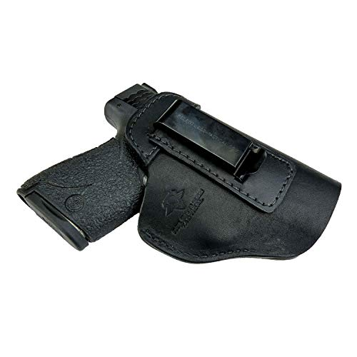 Relentless Tactical The Defender Leather IWB Holster - Made in USA - for S&W M&P Shield - Glock 17 19 22 23 32 33 / Springfield XD & XDS/Plus All Similar Sized Handguns - Black - Right Handed