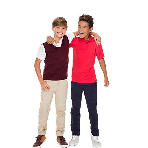French Toast Boys' Big Short Sleeve Stretch Sport Polo, red, M (8) by French Toast (Image #4)