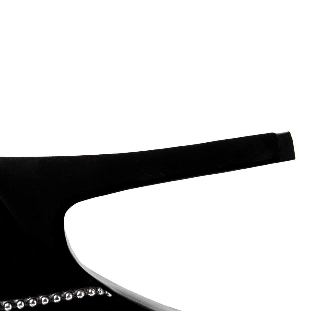 T-JULY Womens Elegant Mid Calf Boots Metal Decoration Super Thin High Heels Platform Winter Warm Slip on Boots Shoes