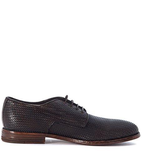 Zapato con cordones Moma en piel entrelazada marrón oscuro Marrón