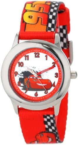 Disney Kids' W001036 Cars Stainless Steel Time Teacher Watch with Red Band