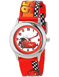 Kids' W001036 Cars Stainless Steel Time Teacher Watch with Red Band