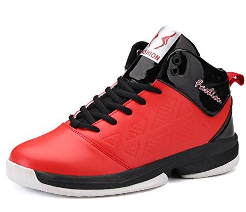 CSDM Uomo Basketball Anti-Skid Respirabile Studenti Scarpe Sportive Indossabile Boots Sneakers Scarpe da Tennis all'aperto in esecuzione , red , 44