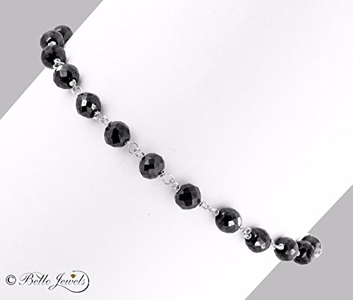 Barishh Black Diamonds Bracelet - 18 carats.4 mm. 6-8''.18K Gold Clasp.CERTIFIED.AAA by Barishh