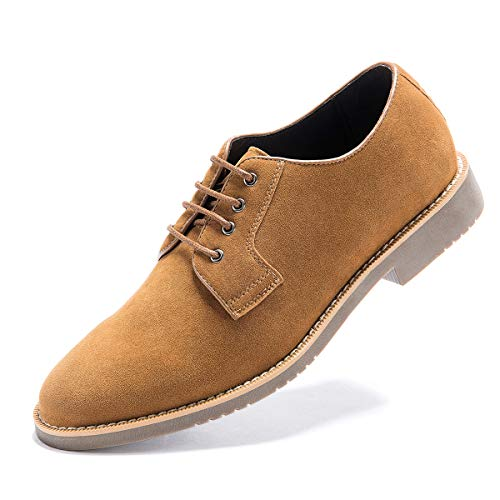 Men's Suede Leather Oxford Shoes Casual Lace up Dress Shoes Khaki Yellow 9 D (M) ()