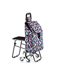 Stair Climbing Shopping Cart with Stools, Folding Portable, Stainless Steel Crystal Wheel, Strong Load Capacity, for Camping, Business Trips, Colored Leaves
