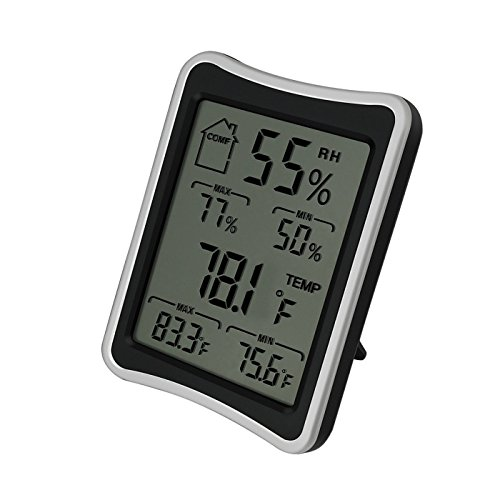 - Hotloop Digital Thermometer and Humidity Monitor for Indoor Measurements with Comfort Level Icon and Large LCD Screen