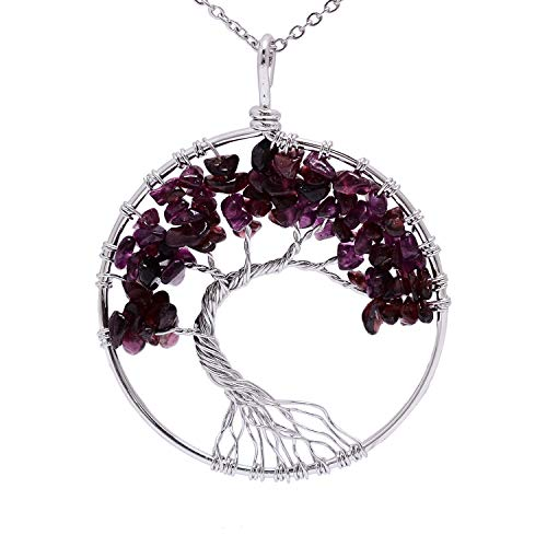 sedmart January Birthstone Garnet Necklace for Mother Wire Wrapped Irregular Family Root Tree of Life Tumbled Semi Precious Birth Stone Healing Crystal Rock Wire Wrapped Necklace for Women