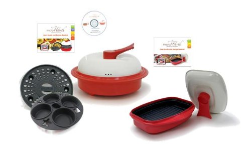 MICROHEARTH C11RC4-G03RS2 6-Piece Microwave Cookware Set with 4-Piece Everyday Combo Set and 2-Piece Grill Pan Set, Red by Microhearth