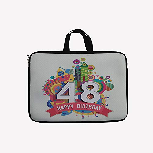 3D Printed Double Zipper Laptop Bag,Pop Art Style Funky Urban Party Age Day Artisan,15 inch Canvas Waterproof Laptop Shoulder Bag Compatible with 15