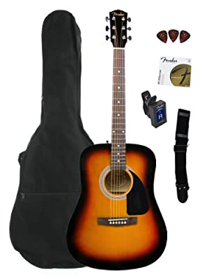Fender FA-100 Limited Edition Dreadnought Acoustic Guitar Pack with Gig Bag, Tuner, Strings, Strap, and Picks - Sunburst