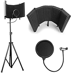 """Flashandfocus.com 41SgaHDgPLL._SS300_ AxcessAbles SF-101KIT Recording Studio Microphone 32.5""""Wx13""""H (422sq inch) Half Dome Isolation Shield with Tripod Stand 4ft to 6ft 6"""" Height Compatible w/Blue Yeti, AT2020, Condenser Mics"""