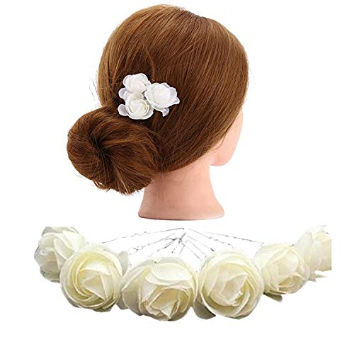 ZIJING 10 pcs 1.18 Ivory White Fashion Hair Small Flower Clip Bridal Girl Women For Wedding Prom Party