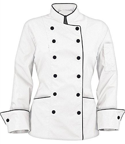 Long Sleeves Stylish Women's Ladies Chef's Coat Jackets (M (to Fit Bust 36-37), White)