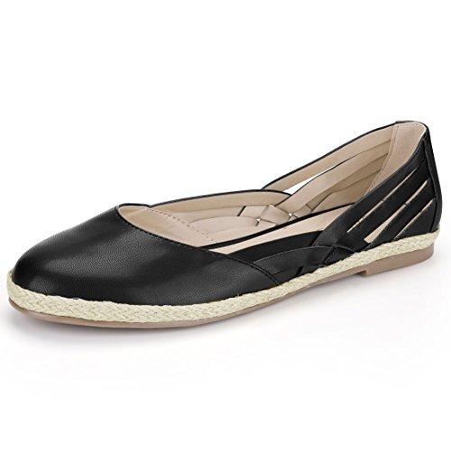 Allegra K Women's Woven Straps Espadrille Flats Black hC0hP7