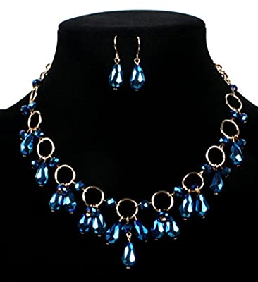 Shineland Tassels Face Drop Crystal Glass Bead Alloy Connecting Circles Collarbone Necklace Earring Set