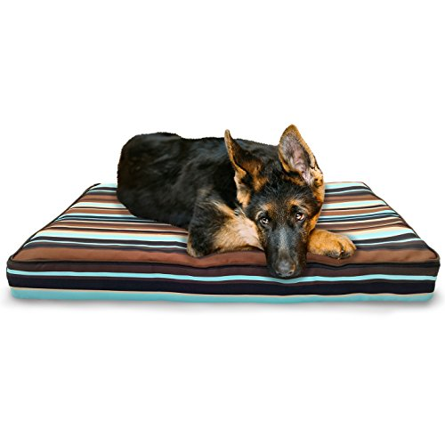 FurHaven Pet Dog Bed | Deluxe Orthopedic Indoor/Outdoor Water-Resistant Patterned Mattress Pet Bed for Dogs & Cats, Striped Espresso, Large (Best Deals On Trampolines)