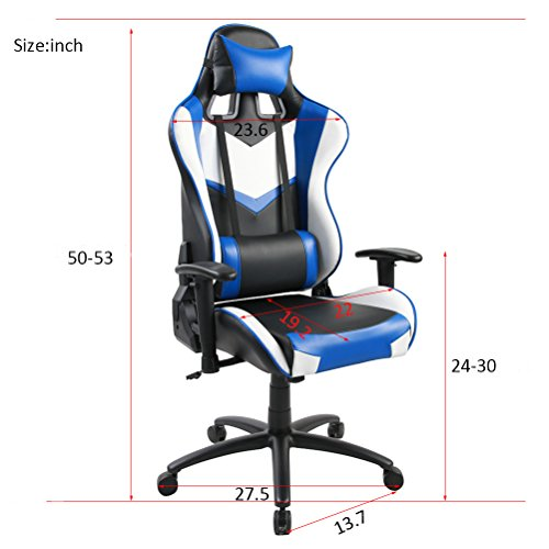 41Sgao0NgzL - Tongli-Video-Game-Chair-Adjustable-Height-Computer-Office-Recliner-Chair-with-Neck-Pillow-and-Lumbar-Support