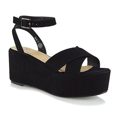 ESSEX GLAM Womens Ankle Strap Platform Wedge Heel Black Faux Suede Sandals...